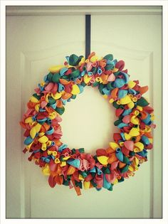 Party Wreath! Love it!!   Make it multi coloured or to a colour theme!! This is on my must do list!