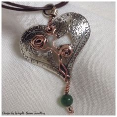 Silver and copper rose heart pendant