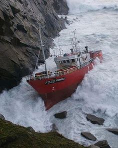 40ft waves crash over the Spanish trawler SPINNINGDALE and her crew, which ran aground off St Kilda in the Outer Hebrides.