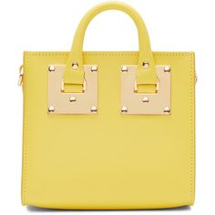 Sophie Hulme Yellow Albion Box Tote ($610) ❤ liked on Polyvore featuring bags, handbags, tote bags, genuine leather tote, structured tote, leather tote bags, leather handbag tote and zip tote