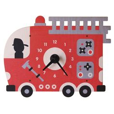 Modern Moose Fire Truck Wall Clock