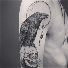 kuzgun kol dövmeleri erkek raven arm tattoos for men