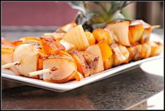 Tofu Pineapple Kebabs. I'd grill these instead of baking them.