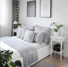 Home Bedroom Design Grey Color Closet Furniture White Room Ideas Bedroom, Decor Room, Home Decor Bedroom, Ikea Bedroom, Gray Bedroom, Bedroom Furniture, Bedroom Rustic, White Furniture, Master Bedroom