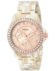 Fossil Women's ES3579 Riley Multifunction Pearlized Resin Watch - Shimmer Horn