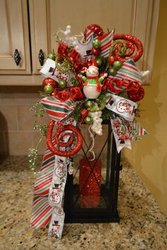 Whimsical Snowman Lantern Swag by kristenscreations on Etsy
