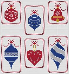 6 Christmas Ornaments cross stitch pattern PDF quick and easy