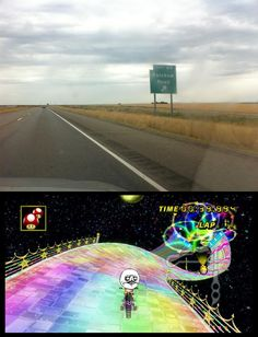 mario kart. rainbow road. awesome.