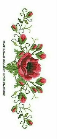 This Pin was discovered by Sem Mini Cross Stitch, Cross Stitch Rose, Cross Stitch Borders, Modern Cross Stitch Patterns, Cross Stitch Flowers, Cross Stitch Designs, Cross Stitching, Cross Stitch Embroidery, Hand Embroidery Projects