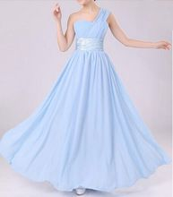 Long Women Party Dresses Gown One Shoulder Bridesmaid Dresses Prom Chiffon Formal Party Dresses vestido de festa PD0014(China (Mainland))