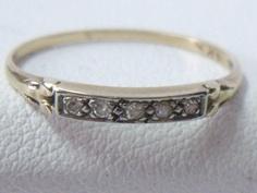 Vintage 14K Yellow & White Two Tone Gold Art Deco Diamond Wedding Band Ring. $145.00, via Etsy.