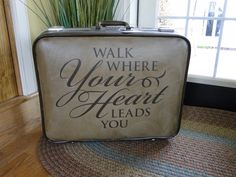 Give new life to an old suitcase by applying an Uppercase Living expression!  (Craft paint can be used to freshen the surface before you apply it.)