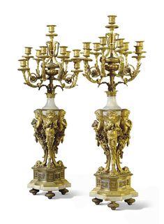 A PAIR OF NAPOLEON III ORMOLU AND ONYX TEN-LIGHT CANDELABRA   ATTRIBUTED TO HENRI PICARD, PARIS, THIRD QUARTER 19TH CENTURY   candelabra, Furniture & Lighting   Christie's