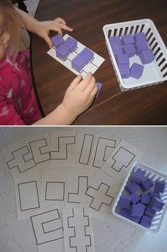 Block Puzzles for busy bag - Love the open ended quality to this! The lack of defining lines allows children to really explore shape, conservation, and quantity themes in a very creative manner! Can't wait to try it! Math Classroom, Kindergarten Math, Teaching Math, Preschool Activities, Educational Activities, Toddler Activities, Learning Activities, Toddler Games, Early Learning