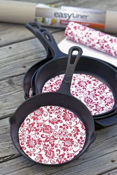 Make these easy DIY Cast Iron Pan Protectors to protect your seasoned cast iron pans. Help keep it seasoned plus make it easy to nest the pans together.
