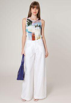 Calça Calvin Klein Jeans Pantalona Lady Branca