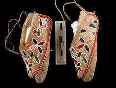Beaded Potawatomi moccasins, c. 1930  Gift of Charles E. Broughton (1943.336) Chief Simon Kahquados of Blackwell, Forest County , the last hereditary chief of the Wisconsin Potawatomi, wore these moccasins. Potawatomi moccasins generally feature beaded floral designs and have large flaps that almost completely cover the top.