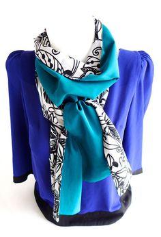 Foulard, écharpe, étole femme à fleurs noir et blanc, dos turquoise bleu  canard 2d9f7d5bac1
