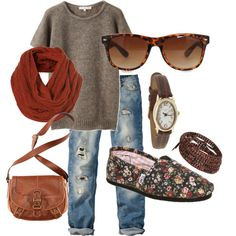 so comfy cute...love the Toms shoes, the sunglasses, watch, tooled bag, and destroyed jeans...