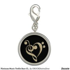 Platinum Music Treble Bass Clef Heart Charm