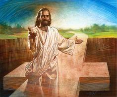 A cruz-ponte. Jesus disse que Ele veio para nos dar vida em abundância (João 10:10). Ele oferece a reconciliação através da cruz a toda a humanidade. A cruz preenche a lacuna que o pecado tem causado entre Deus e o homem (Romanos 3:23), é um símbolo de vida nova e novos começos. Nesta pintura, Cristo alcança diretamente para o espectador com seu convite de vida abundante. Óleo sobre tela. Christian Nathan Greene.