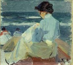Clotilde en la Playa (Clotilde at the Beach) - Joaquin Sorolla i Bastida 1904Impressionism