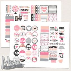 Hello love pink planner stickers,Valentines day planner sticker printable,Decorative February stickers,Mini planner stickers,Personal size