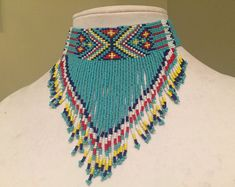 Native American Style seed Bead Choker and Earrings  Multicolor Seed Bead Necklace Bib Necklace Seed Bead Jewelry Elegant Beaded Necklace