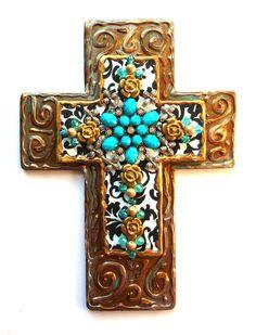 handmade Cross SALE ooak hand painted found object mixed media religious art gift wall decor cross