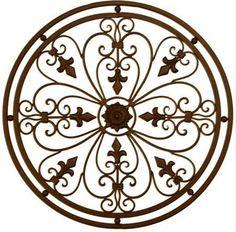 round french fleur de li wrought iron wall art