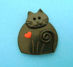 Fimo Polymer Clay Black Cat with Red Heart Brooch Pin or Magnet