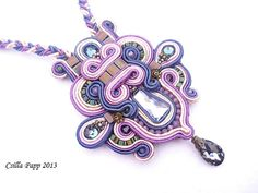 Soutache necklace pendant in purple blue coffe with by CsillaPapp