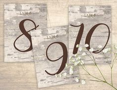 Birch Bark Printable Table Numbers design No. 201 - personalized table numbers for wedding, bridal shower, baby shower DIY