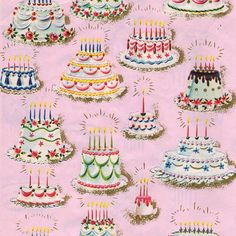 Lovely vintage birthday cake print wrapping paper. #gift_wrap #birthdays #vintage