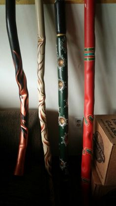 Could also be a warped,  ancient walking stick,  quarterstaff, or enormous magic staff or wand.   [Handmade painted pvc didgeridoo]