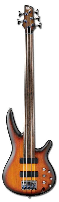 Ibanez SRF705 5-String Fretless Bass Guitar   Brown Burst Flat