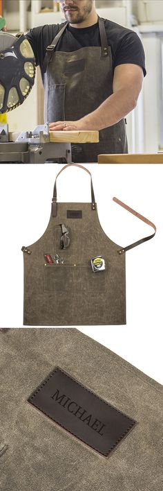 An awesome gift idea for the guy who enjoys woodworking or DIY projects, this all natural, wet-waxed canvas work apron is personalized with their name to proudly wear on any job around the house or in the shop. Your groomsman, brother, dad, husband, boyfriend or friend will love and actually use this unique gift. This apron can be ordered at http://myweddingreceptionideas.com/personalized-waxed-cotton-canvas-leather-apron.asp for Christmas, birthday, anniversary, father's day or just…