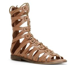 Brown Gladiator Studded Sandals (£16) ❤ liked on Polyvore featuring shoes, sandals, brown, studded shoes, brown shoes, studded gladiator sandals, brown gladiator sandals and greek sandals