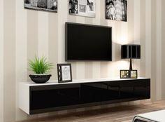 zwevend hoogglans zwart wit tv-meubel bestaande uit twee kleppen