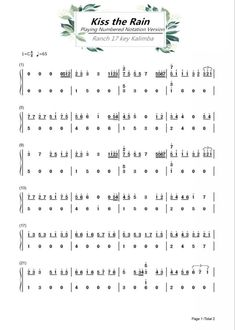 Ranch Beginners 17 key Kalimba Lesson 4 – Kiss the Rain – Guitar, Ukulele with Music Instrument Accessories Flute Sheet Music, Easy Piano Sheet Music, Piano Music, Music Tabs, Music Chords, Guitar Chords, Song Notes, Music Notes, Folk Musik