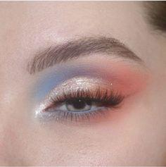 watercolor pastel dream 🌊💘✨☀️☁️ - wearing: colourpopcosmetics blue moon palette, baby got peach palette, prance creme gel liner, wild… Edgy Makeup, Makeup Eye Looks, Eye Makeup Art, Cute Makeup, Makeup Goals, Pretty Makeup, Makeup Inspo, Skin Makeup, Eyeshadow Makeup