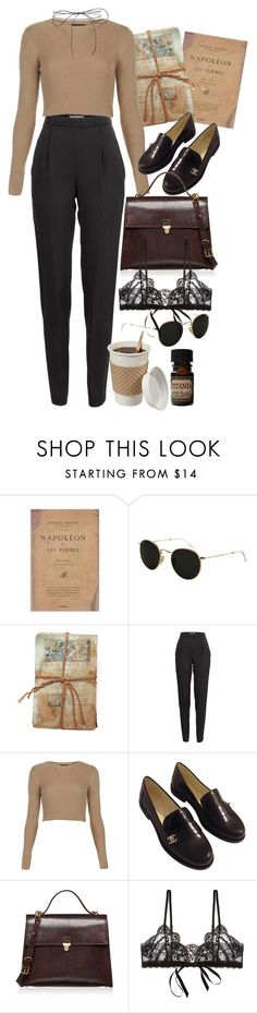 """""""Untitled #9578"""" by nikka-phillips ❤ liked on Polyvore featuring Ray-Ban, GO Home Ltd., Vionnet, Topshop, Chanel, Marni, Hanky Panky, Lab and Lilou"""