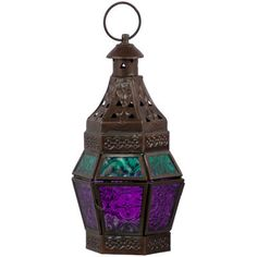 Glass & Metal Tealight Lantern - Turquoise & Purple-Patterned pressed glass panels in hues of turquoise and purple will turn a candle's light into a magical site. Antique copper finish and top cut outs complete the design. Candle not included. Teal Candles, Purple Candle Holders, Lantern Candle Holders, Metal Lanterns, Candle Lanterns, Glass Candle, Candleholders, Art Nouveau, Art Deco