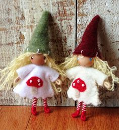 New!  Spring inspired mushoom waldorf  style bendy doll gnomes with curly mohair hair and recycled felt from post consumer plastic bottles! By: A Curious Twirl