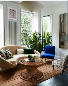 Modern Boho Living Room With Beautiful Rattan Coffee Table Holland Park Flat By Beata Heuman