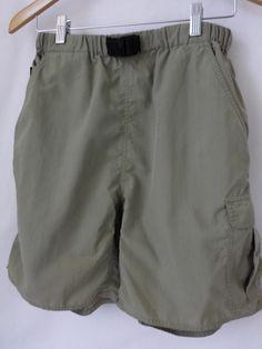 The North Face Women's Nylon Shorts Belted Elastic Waist Medium Green #TheNorthFace #CasualShorts