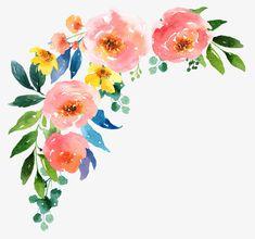 Watercolor Flowers Cartoon Mano Acuarela Imagen PNG