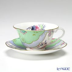 Wedgwood (Wedgwood) butterfly Bloom tea cup and saucer green