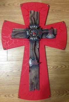 Large Fireman's Cross by TheCrossedCupcake on Etsy