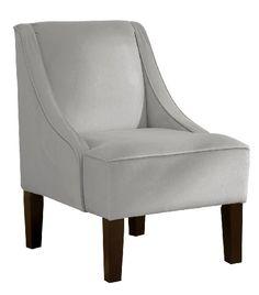 Skyline Furniture Swoop Arm Chair in Velvet Light Grey